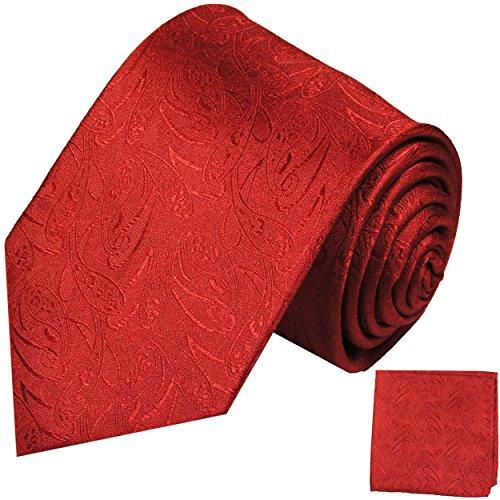 Paul Malone Krawatten Set 100% Seide Rot Paisley Hochzeitskrawatte +Einstecktuch