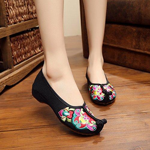 ZLL Chinesische Oper bestickte Schuhe, Sehnensohle, ethnischer Stil, Femaleshoes, Mode, bequem Black