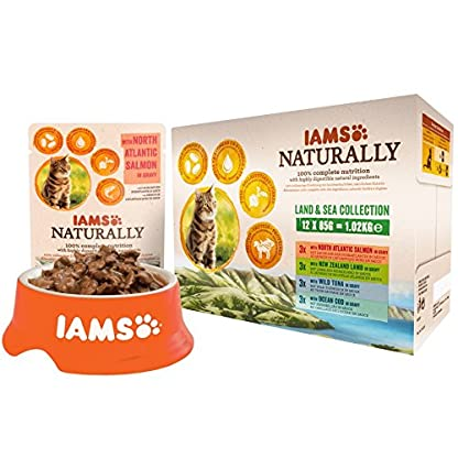 Iams Naturally Complete Land & Sea Collection Adult Cat Food Pouches, 12x85g 3