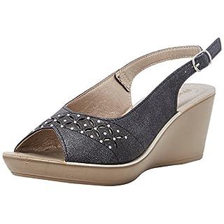 INBLU Women's Danza Ankle Strap Sandals, Black (Nero 014), 6 UK 6 UK