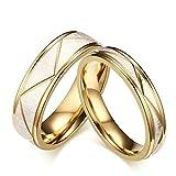 Daesar Schmuck 1 Paar Gold Hochzeit Ringe Edelstahl Vergoldet Matt Poliert Ringe Eheringe Gratis Gravur Damen 52(16.6) & Herren 62(19.7)