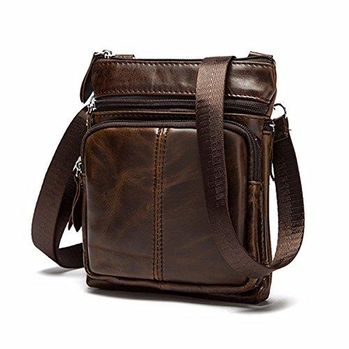 OURBAG Sacchetto di spalla degli uomini borsetta Borsa a tracolla Marrone Marrone