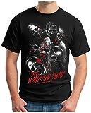 OM3 Dead-Walking - T-Shirt Zombies Horror Bloody Splatter Movie Gru Skull Devil 666 Geek Emo, M, Schwarz