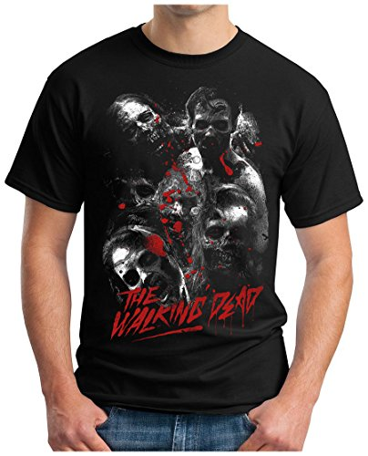 OM3 - DEAD-WALKING - T-Shirt Zombies Horror Bloody Splatter Movie Gru Skull Devil 666 Geek EMO, 3XL, Schwarz (Splatter-premium-t-shirt)
