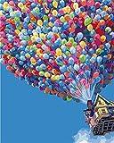 YEESAM ART Neuerscheinungen Malen nach Zahlen für Erwachsene Kinder - Romantische Liebe Liebhaber Straßenansicht Paar 16 * 20 Zoll Leinen Segeltuch (Ohne Frame, Ballon)