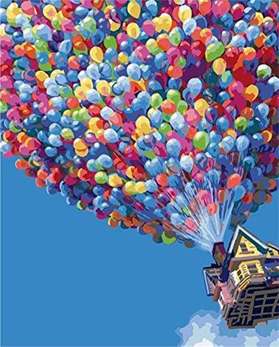 YEESAM ART Neuerscheinungen Malen nach Zahlen für Erwachsene Kinder - Bunt Heißluftballon Romantisch Haus 16 * 20 Zoll Leinen Segeltuch (Mit Rahmen, Ballon) -