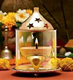 Collectible India Akhand Diya Decorative Brass Oil Lamp Lantern | Home Decor Gift | Puja Lamp (Large)