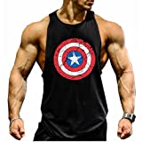 Kecko Men Cotton Herren Tank Top Stringer Fitness Gym Shirt American Captain T-Shirt Weste Muscleshirt Print Sport Vest (L, Schwarz)