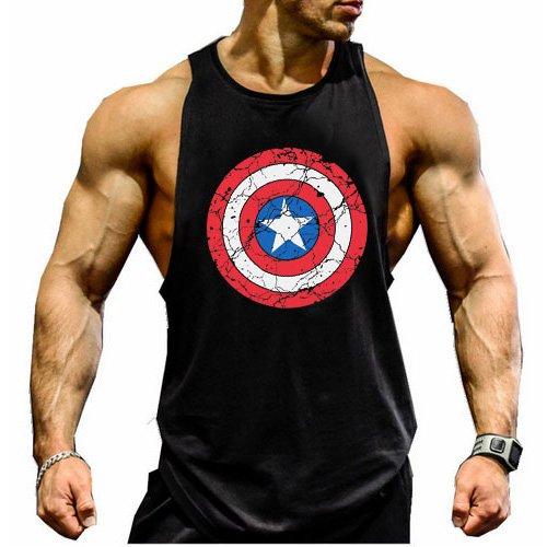 1 Herren-tank Top (Kecko Men Cotton Herren Tank Top Stringer Fitness Gym Shirt American captain T-Shirt Weste Muscleshirt Print Sport Vest (L, Schwarz))