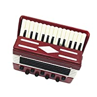 CUTICATE Dollhouse Miniature Brown Wooden Accordion With Black Case Musical Gift