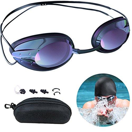 METALBAY Schwimmbrille Badekappe, Taucherbrille mit UV und Antibeschlag Schutz Swim Goggles Kein Auslaufen mit Schnellverschluss Einstellbare Nasenklammer Ohrstöpsel Badekappe