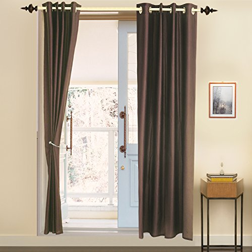 Door Curtain Polyester (1 curtain), 4 x 7 ft, Brown