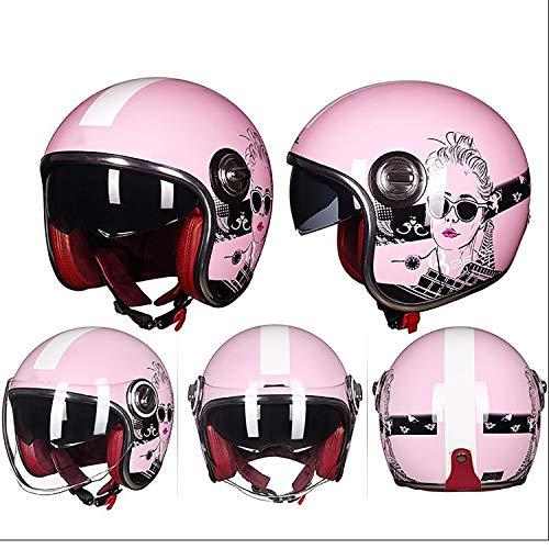 Preisvergleich Produktbild MMGIRLS Offener Motorradhelm für Herren und Damen mit DOT-Zulassung,  Retro-Harley-Helm,  Antibeschlag-Brillensystem mit hoch atmungsaktivem Futter (mehrere Farben zur Auswahl), A, L