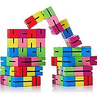 9 Pieces Twist and Lock Blocks Mini Fidget Puzzles Wooden Flexible Puzzles Stretchable Fidget Puzzles for Fidget or Party Favours