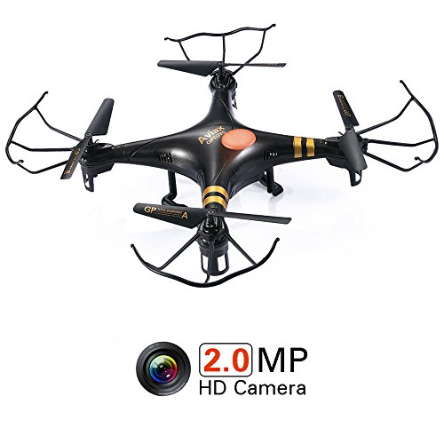GPTOYS Aviax Quadcopter 6-Axis 2.4GHz RC Drone helicóptero con 3D Flip / Headless Mode / 2MP HD Cámara / LED Lights / 4G SD Card / SD Card Reader (Blanco) Navidad