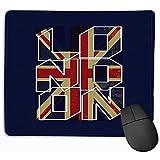 FJXXM Bordi Cuciti Mouse Pad,Emblema del Tappetino per Mouse Bandiera Britannica Etichetta Londinese Emblema Grafico Bandiera Britannica Scritte London Tappetino in Gomma Blu Scuro Rettangolo 25X30Cm