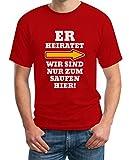 JGA Kombi Shirt - Rechts Er Heiratet Wir Sind Nur Zum Saufen Hier Polterabend Junggesellenabschied Männer Herren T-Shirt Large Rot