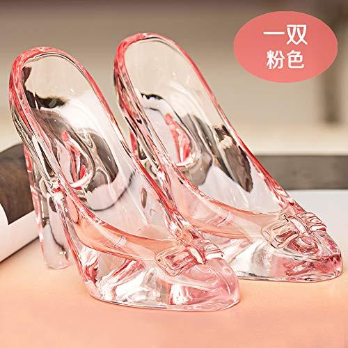 SER ITYHTR Dekoration Cinderella's Crystal Schuhe Dekoration 18-jährige Frau Adult Geburtstag Geschenk Valentinstag senden Seine Freundin High-Heels Glas Schuhe rosa ()