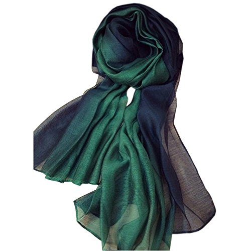 - 518 2BR4NdjxL - Uni-love Summer Silk Scarf Gradient Color Long Lightweight Sunscreen Shawls for Women (Dark Green)