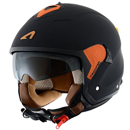 Astone Helmets Casco Jet Mini, diseño de soldado, color Negro mate/Naranja, talla L