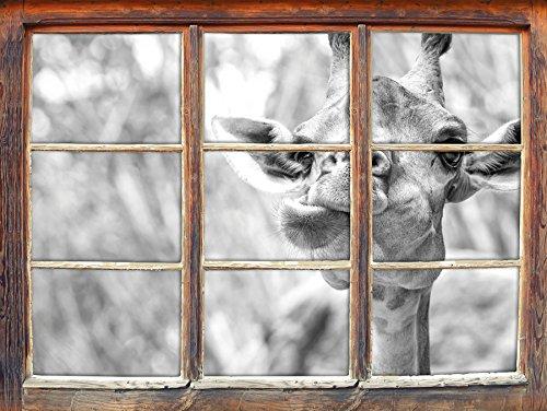 Giraffe dans la nature art B & W Fenêtre en 3D look, mur ou format vignette de la porte: 92x62cm, stickers muraux, sticker mural, décoration murale