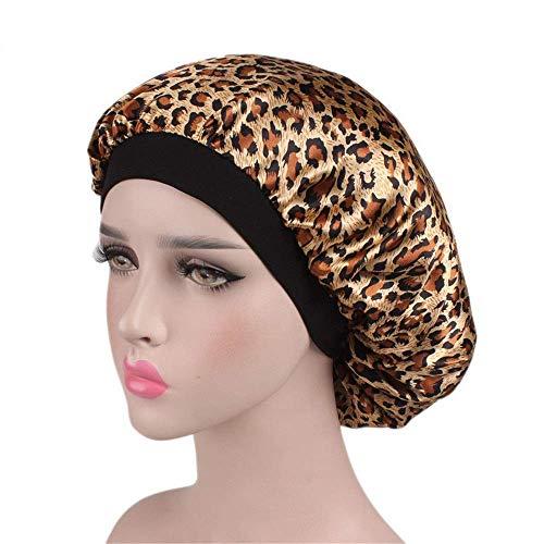 Giow Komfortable Nachtschlaf Hut Weiche Satin Schlafmütze Salon Bonnet Nacht Hut Haarausfall Chemo Caps Für Frauen Haarhaube für Frauen (Farbe: C6) - Cap Schlafen Männer