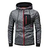 Innerternet Sweat-Shirt Homme Manches Longues Pull Uni Zippé Slim Fit àHoodie with Poche Outwear Blouse Sports Blouson Veste