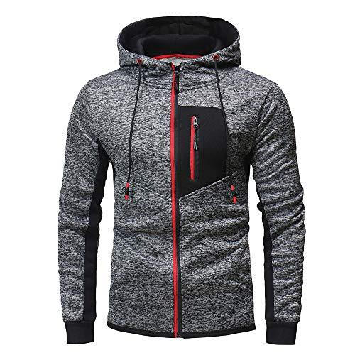 Innerternet Sweat-Shirt Homme Manches Longues Pull Uni Zippé Slim Fit àHoodie with Poche Outwear Blouse Sports Blouson Ves