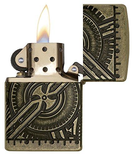 518%2BSoeZPXL - Zippo Unisex's Armor Steam Punk Skull Lighter, Antique Brass, regular