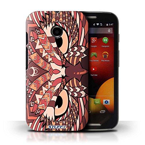 Kobalt® Imprimé Etui / Coque pour Motorola Moto E (2014) / Loup-Couleur conception / Série Motif Animaux Aztec Hibou-Rouge