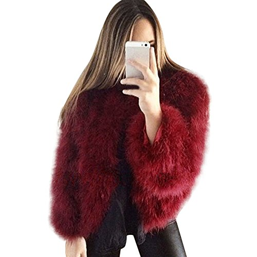 iHENGH Damen Mantel Top,Women Faux Pelz Weiche Pelzmantel Jacke Flauschig Winter Outwear Xmax Strickjacke Coat Tops (EU-44/CN-3XL,Weinrot)
