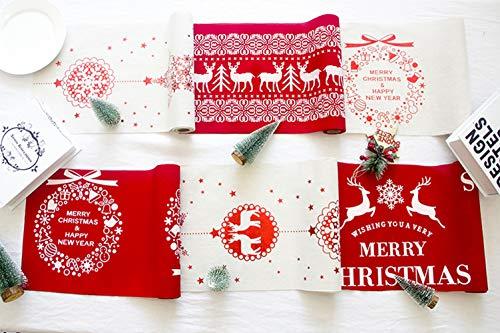NIGHT-GRING 3m Noël Chemin de Table Nappe de Noël, avec de charmants Rennes   Père Noël sur Un traîneau Couronne de Noël Roug