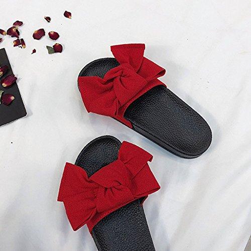 Liuxuepin pantofole a fondo spesso donna summer fashion abbigliamento esterno wild room fuori pantofole (colore : rosso, dimensioni : 37)