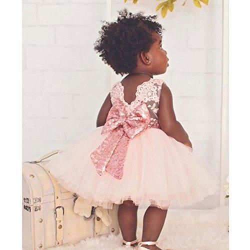 Juleya Baby Mädchen Prinzessin Kleid Kinder mit Bowknot für Festzug Kommunion Party Geburtstag rosa / (Kleid Baby Fairy)