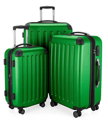 HAUPTSTADTKOFFER - Spree - 3er Koffer-Set Trolley-Set Rollkoffer Reisekoffer Erweiterbar, TSA, 4 Rollen, (S, M & L), Grün