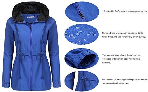 Damen Wasserdichte Übergangsjacke mit Kapuze Windbreaker Regenmantel Grau