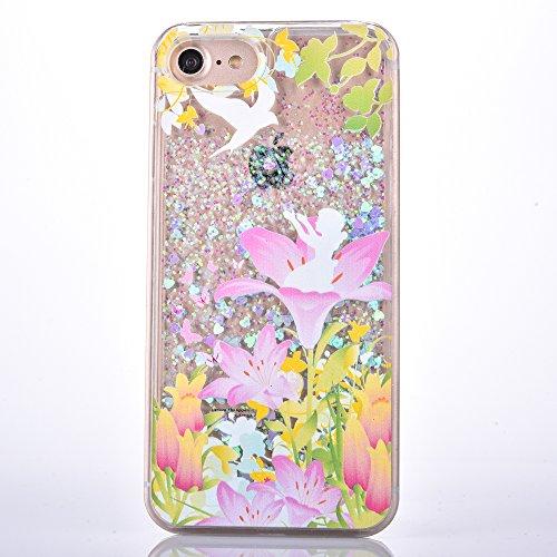 Voguecase Pour Apple iPhone 7 4,7, Luxe Flowing Bling Glitter Sparkles Quicksand et les étoiles Hard Case étui Housse Etui(Amour Quicksand-Pink sable-talons hauts rouges) de Gratuit stylet l'écran alé Amour Quicksand-Bleu sable-Poucette