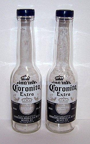 Corona Salt and Pepper Shakers (1 Pair of 7oz Coronita Extra Bottles and Caps) by Corona -
