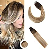 Ugeat 22 Zoll 20 Stuck 50gram Pastel Ombre Haarfarbe # 2 Dunkelstes Braun Fading to # 613 Blonde Tape in Remy Hair Extensions Echthaar Tape