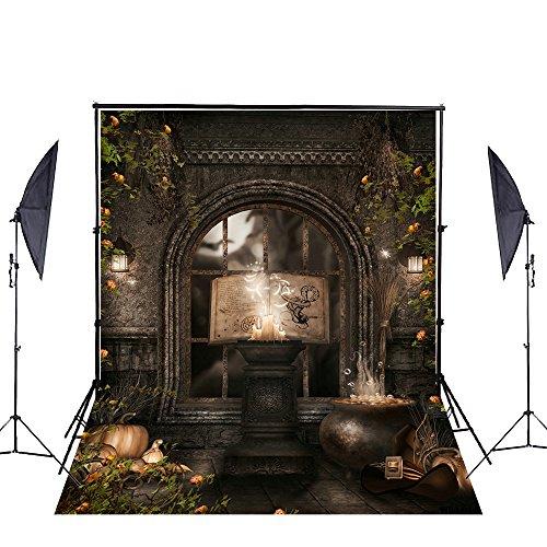 nd klappbar Baumwolle keine Falten Castle Magic Buch Kerze Blume Fotografie Hintergrund Halloween Thema Hintergründen Studio Requisiten (Professionelle Halloween-foto-shootings)