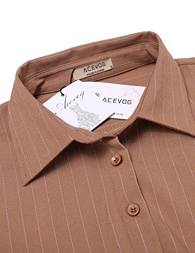 ACEVOG Damen Blusenkleid Kariertes mit Gürtel 3/4 Ärmeln Casual Business Kleid Shirtkleid Hemdkleid Khaki