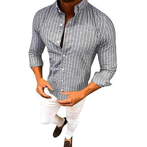 Herren Oberteile,TWBB Herbst Vertikale Streifen CardiganShirt Pullover Schlank Sweatshirt Lange Ärmel Shirt