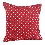 Homescapes dekorative Kissenhülle Polka Dots, rot, 30 x 30 cm, Kissenbezug mit Reißverschluss aus 100% reiner Baumwolle