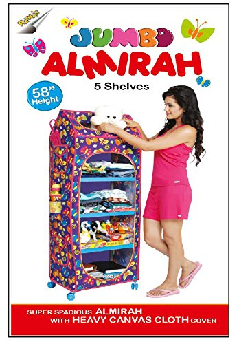 Toyztrend 5 Shelves Jumbo Almirah Compact Cupboard with Colourful Washable Cloth Cover