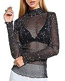 Kyerivs Damen Langarm Shirt Transparent Tüll Mesh Bluse Body T-Shirt Tunika Tops (Schwarz 1, L)