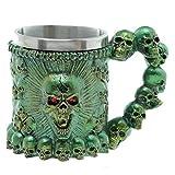 TAOtTAO Goblet Cup Schädel-Krug-Kaffee-Tassen-Schalen-kühler Edelstahl-Tee-Becher-Schale für Becher des Entwurfs-3D (Grün)