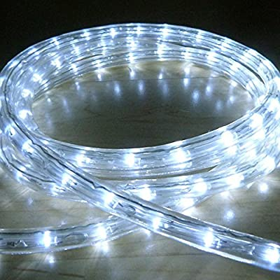 Cool White 40 Metre LED Rope Light, High Quality Outdoor LED Rope Lights which are ideal for Christmas Lights, Xmas Lighting, Garden Lights, etc... (1440 LED's and effects such as static, chase, twinkle, fade, etc...)