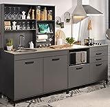 Wohnorama Einbauküche 3-tlg ohne E-Geräte Moove 2 von Parisot Grau/Eiche hell by