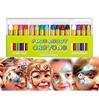 MiMoo 16 Colors Face Paint set Crayon for Baby, Non-toxic Body Paint Sticks Body Tattoo Crayons Kit for Kids, Children, Toddlers, Set of 16
