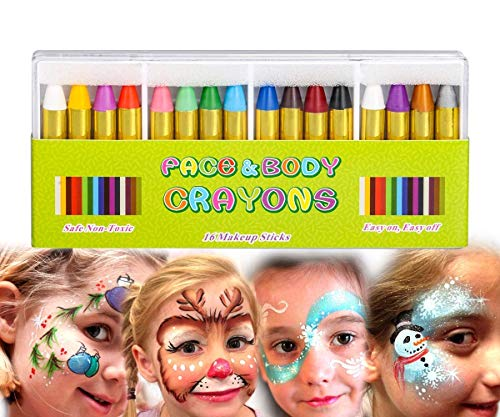 Mimoo 16 Farben Gesicht Malen Buntstifte, ungiftig Körperbemalung Sticks Körper Tattoo Buntstifte Kit für Kinder, Kleinkinder, Set von 16